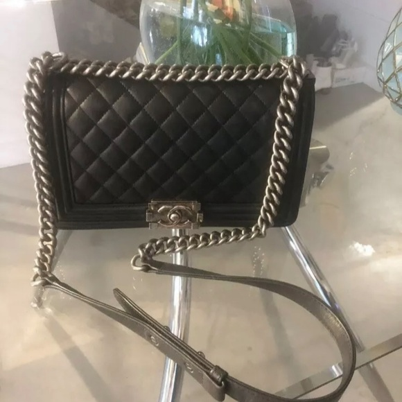 CHANEL Handbags - Auth CHANEL Black Lambskin Ruthenium Medium Boy
